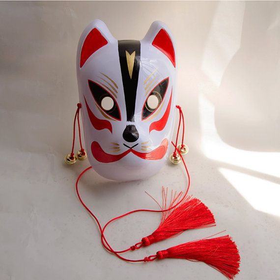 Full Face Hand-Painted Japanese Fox Mask Kitsune by Craft4Diy
