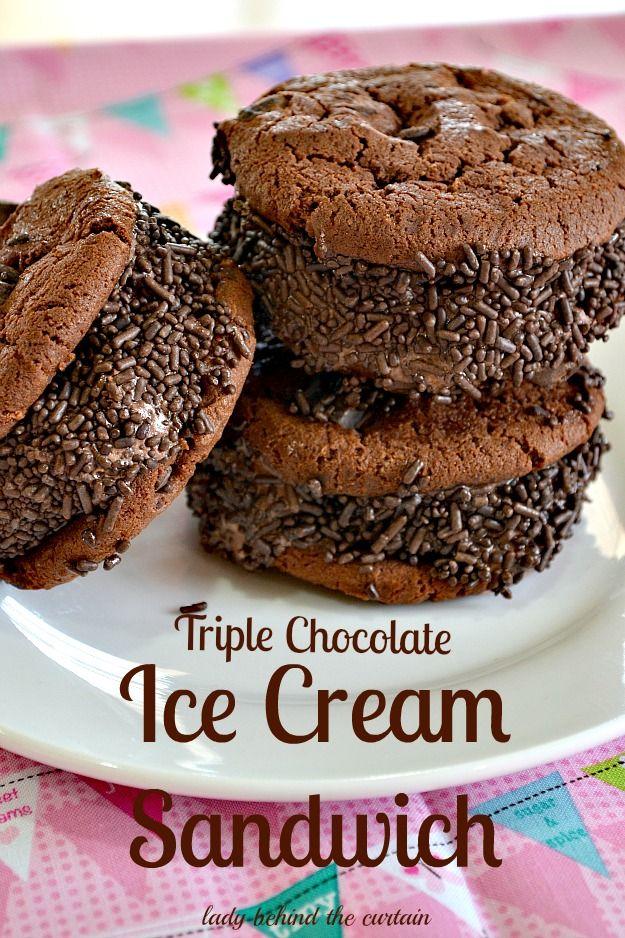 Triple Chocolate Ice Cream Sandwich | Recipe | Chocolate cookies, Lady ...