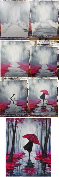 Step by step painting of grey misty forest and woman with red umbrella, red leaves and path.