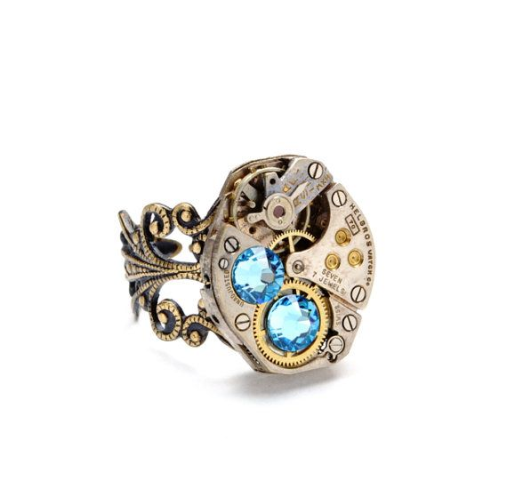 Steampunk Ring Steampunk Jewelry Steampunk Vintage Watch Ring Aquamarine March Aqua Blue Steam Punk Jewelry By Victorian Curiosities