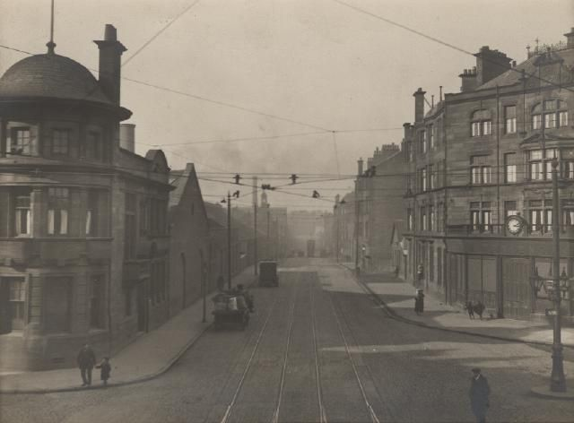 Farme Cross looking towards Dalmarnock Road with the Clyde Patent Rope Wire Works on the left of the picture about March 25 1925