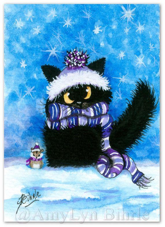 Black Cat Winter Hamster Pet Friend - Art Prints by Bihrle ck421