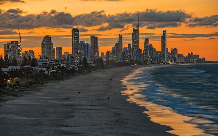Hämta bilder Miami Beach, Sunset, Florida, beach, skyskrapor, Miami, USA, ocean