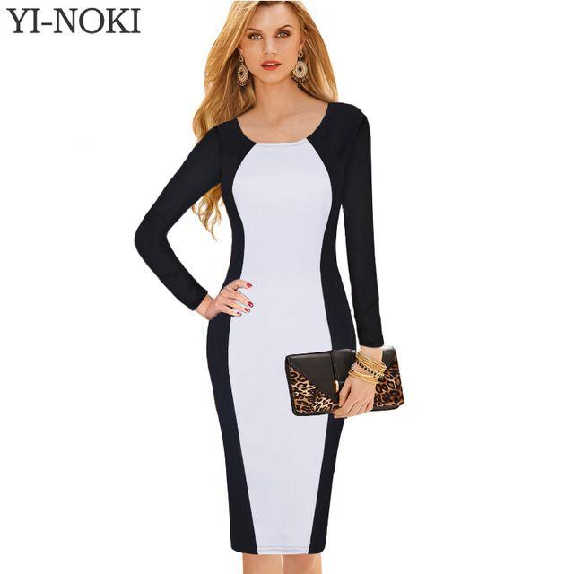 YI-NOKI sexy vestido Mulheres Autumn Winter Dress Moda retro casuais de manga comprida vestido de gola redonda plus size escritório vestido cheap-clothes-china
