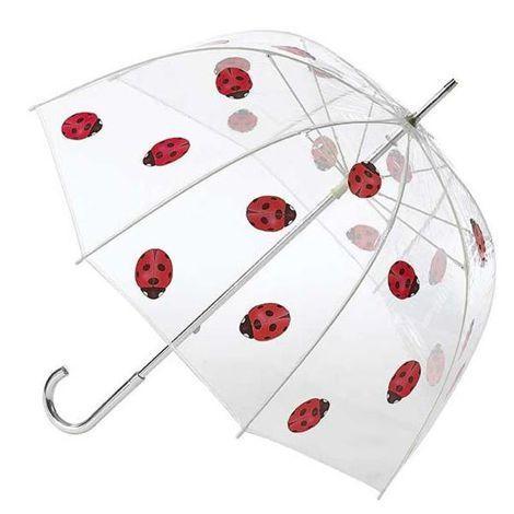 Parapluie Transparent Forme Cloche - Motif Coccinelle - Manuel