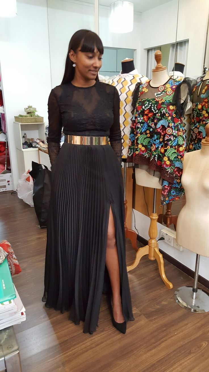 Black lace and Chiffon with a touch of gold! By Zann & Denn. Service@zanndenn.com