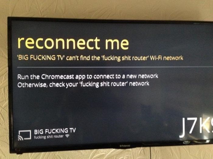 Reconnect big tv with router