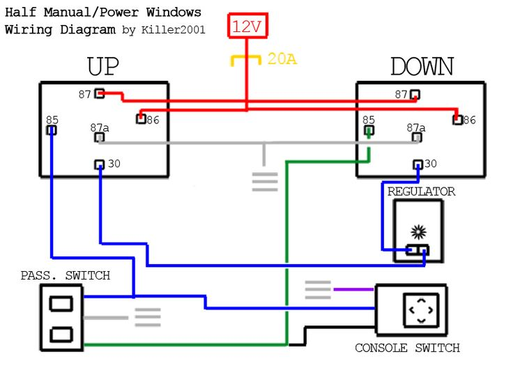Half Manual Power Window Wiring Diagram Automotive Electrical