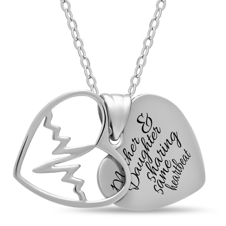 Mother Daughter Heart Necklace, 925 Silver, Silver Plated Two Heart Necklace - TZARO Jewelry
