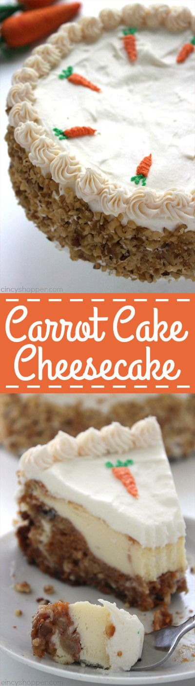 Carrot Cake Cheesecake - moist carrot cake with a hint of pineapple, coconut…