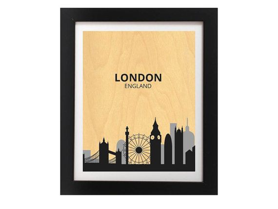 London City Silhouette Wall Art Print  by TheWoodPaperShoppe