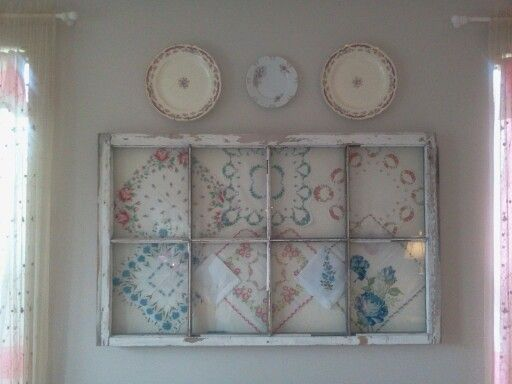 Old window with vintage hankies , one of my favorite things!