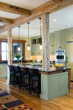Beautiful rustic Natural beams + open kitchen = modern rustic design