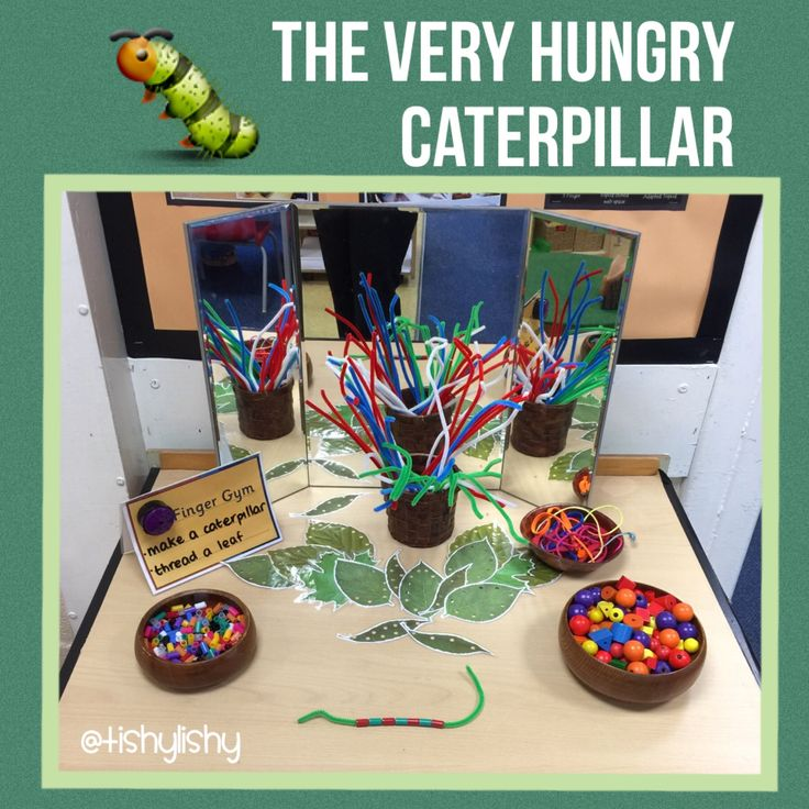 Finger Gym inspired by The Very Hungry Caterpillar. Threading leaves and making caterpillars with straws and different sized beads.