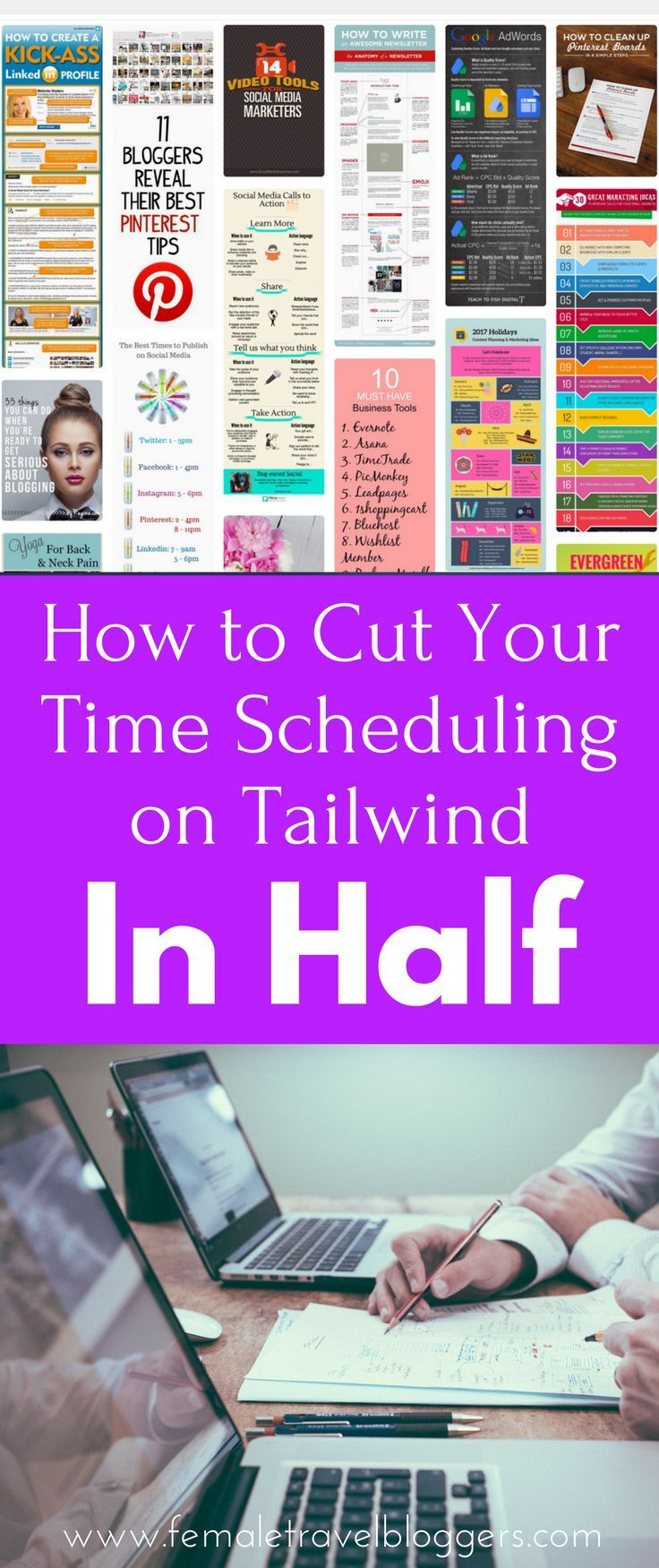 Tailwind can be difficult if you don't know how to use it quickly and efficiently. We will share our top tips to help you cut the time you spend scheduling on Tailwind in HALF! If you're looking for a way to streamline your Pinterest strategy and spend more time focusing on other aspects of your blog, you found it. Make sure you save this Tailwind guide to your blogging board so you can find it later.