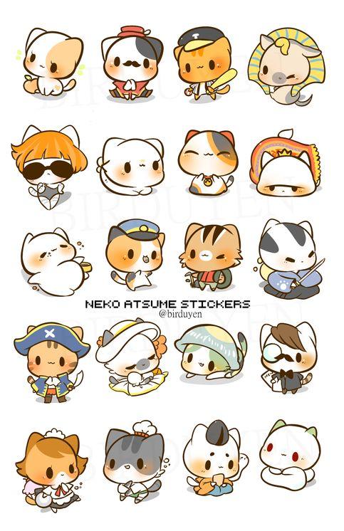 neko atsume's rare cat stickers!!! stick them everywhere :D  stickers will be precut!