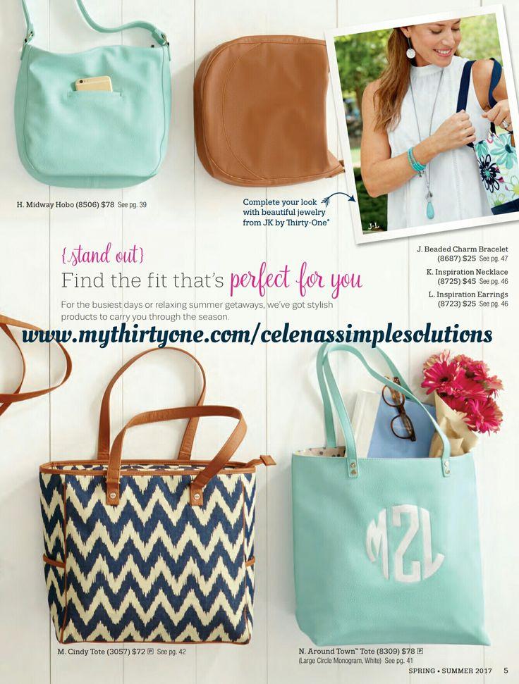 Spring/Summer 2017 Catalog purse tote hobo www.mythirtyone.com/celenassimplesolutions