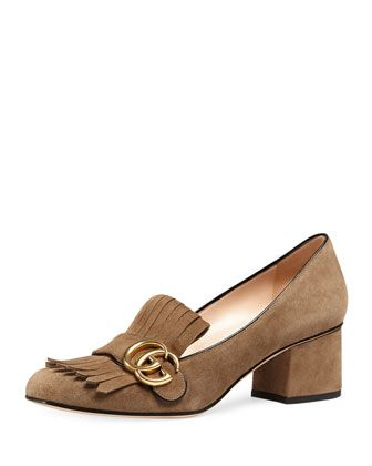Marmont+Fringe+Suede+55mm+Loafer,+Taupe+by+Gucci+at+Neiman+Marcus.