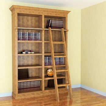 Library Bookcase w/ Ladder Woodworking Plan by Sawtooth Ideas