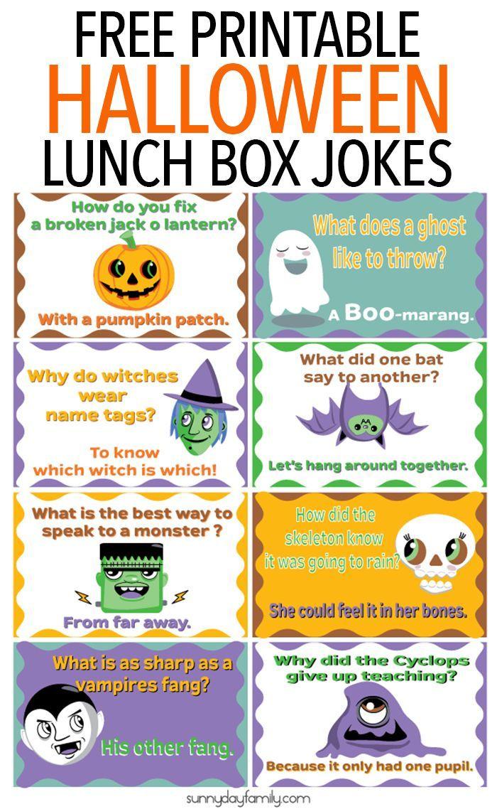 Free Printable Halloween Lunch Box Jokes for Kids