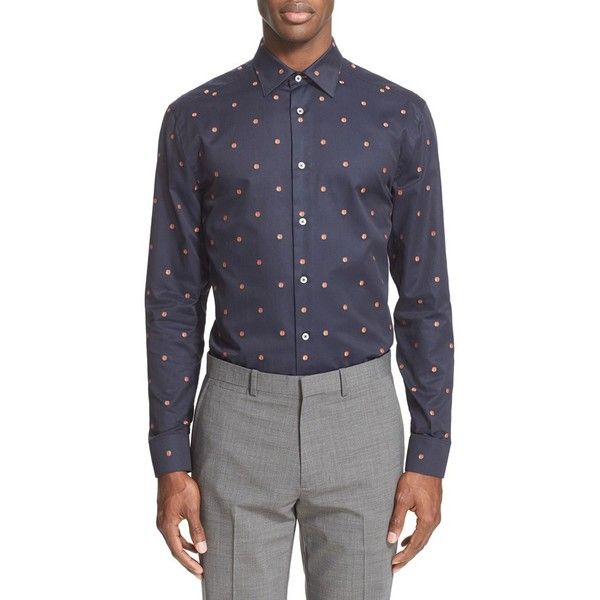 Men's Paul Smith London Trim Fit Apricot Jacquard Dress Shirt (995 ILS) ❤ liked on Polyvore featuring men's fashion, men's clothing, men's shirts, men's dress shirts, navy, mens polka dot shirt, mens navy blue polka dot shirt, mens navy blue button down shirt, mens navy blue shirt and mens slim shirts