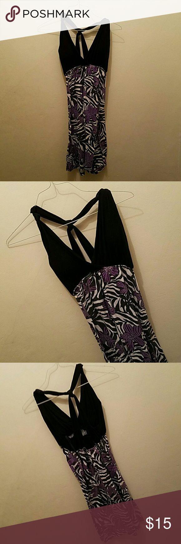 Vanity Purple Floral Zebra Print Spring Dress Vanity Purple Floral Zebra Print Spring Dress. Size large. Vanity Dresses