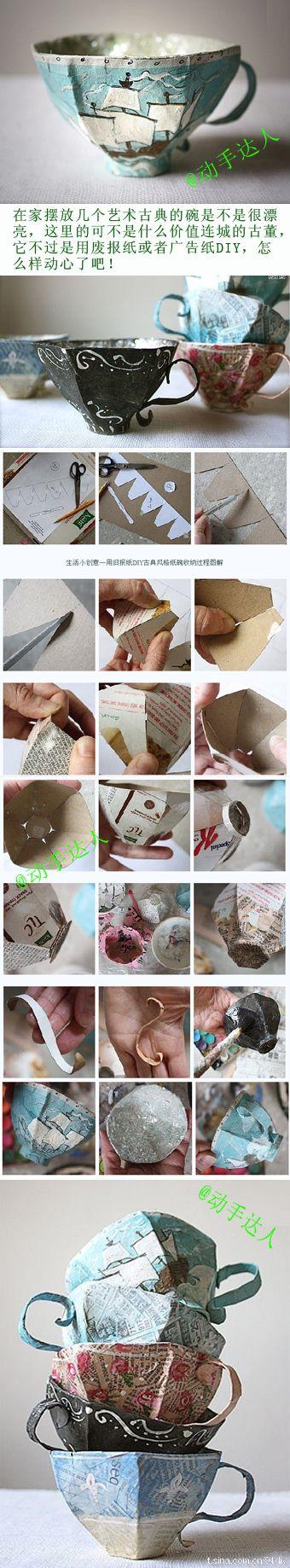 papier mache teacups    full (English) tutorial here:    http://annwood.net/blog/2011/02/24/paper-mache-teacup-pattern/