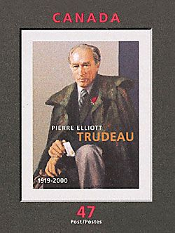Pierre Elliott Trudeau (1919-2000) Canada's 15th Prime Minister - Stamp issued 2001