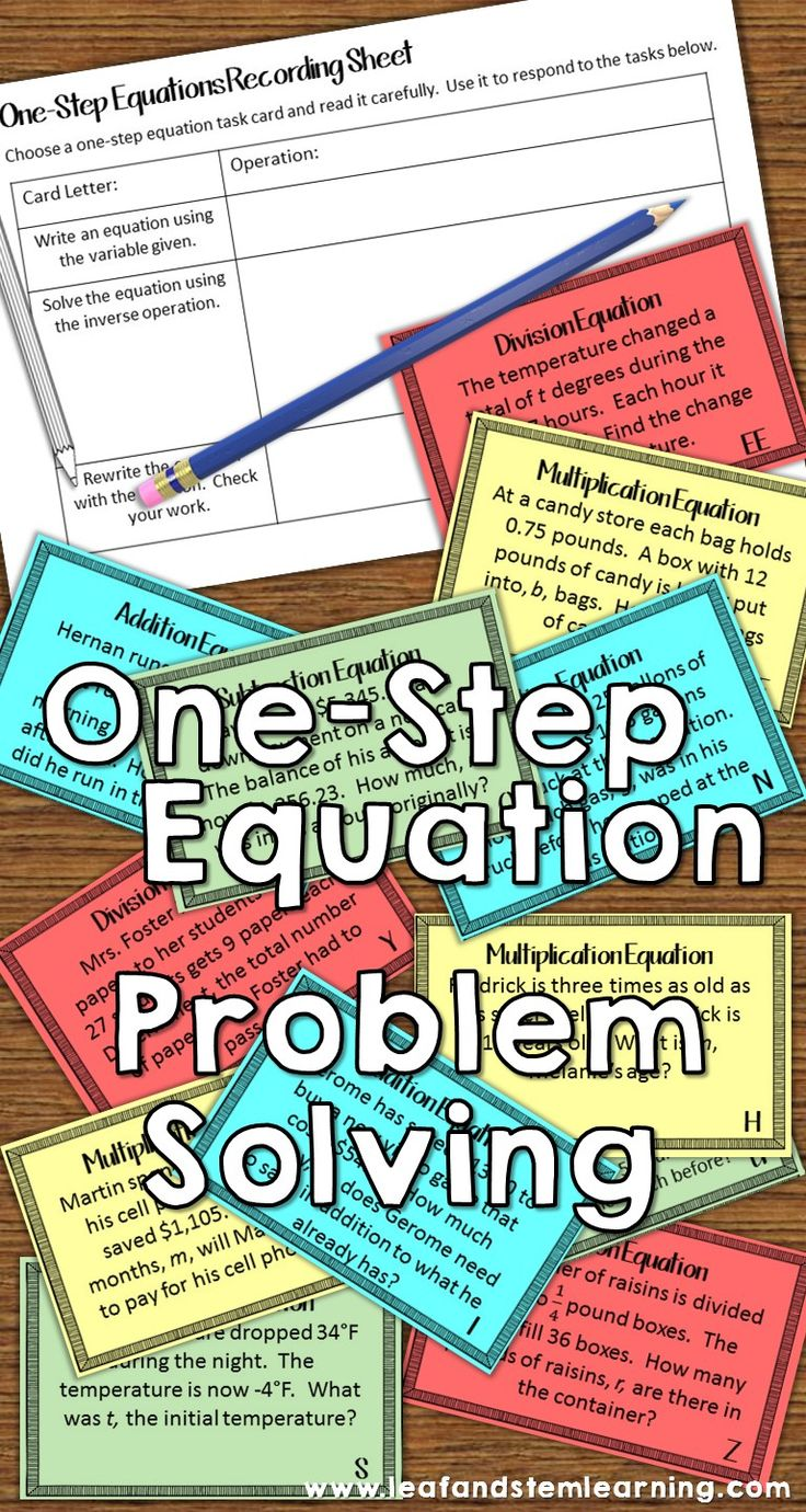 One-Step one-variable equation problem solving task cards. Use real world situations to write and solve one-step equations in your 6th grade and 7th grade math centers!