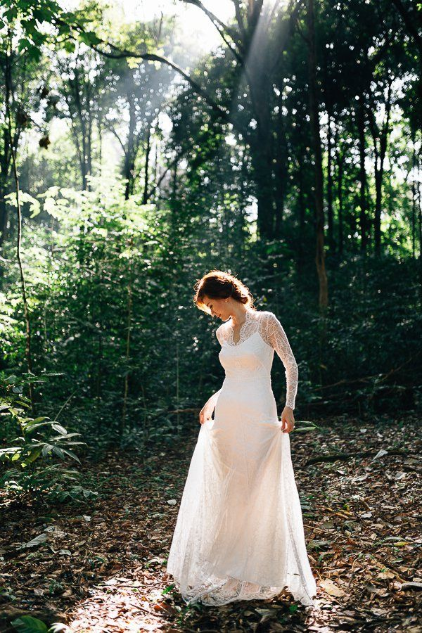 Lace wedding dress. Pre-wedding in FRIM and Kuala Lumpur historical city centre | BlueCicada Photography #lace #wedding #dress #weddingdress #bride.