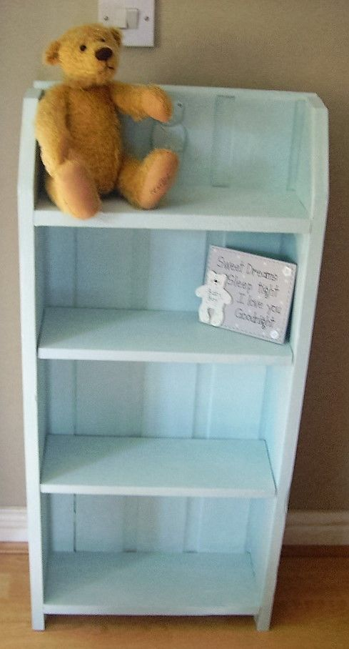 Shabby Chic Nursery Baby Boy Bookcase Chalk Painted Annie Sloan Duck Egg Blue in Home, Furniture & DIY, Furniture, Bookcases, Shelving & Storage   eBay