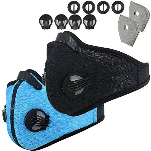 Activated Carbon Dustproof Dust Mask - with Extra Filter Cotton Sheet and Valves for Exhaust Gas, Anti Pollen Allergy, PM2.5, Running, Cycling, Outdoor Activities (Blue+Black, Type 1) #Activated #Carbon #Dustproof #Dust #Mask #with #Extra #Filter #Cotton #Sheet #Valves #Exhaust #Gas, #Anti #Pollen #Allergy, #PM., #Running, #Cycling, #Outdoor #Activities #(Blue+Black, #Type