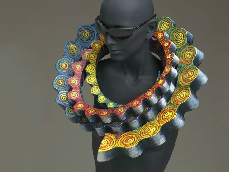 Marjorie Schick, Tribute to Professor Alma Eikerman, 1995, necklace, papier-mâché, paint, 464 x 502 x 114 mm, photo: Gary Pollmiller