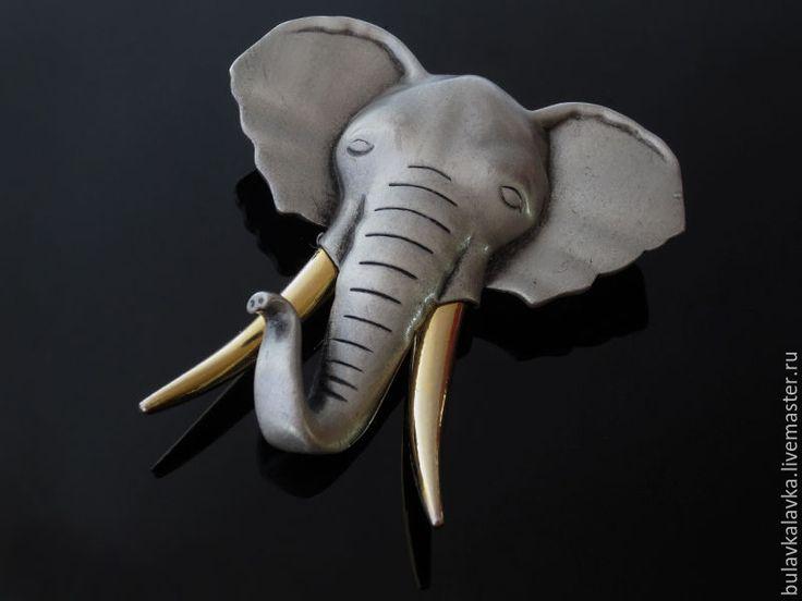 """Купить JJ Винтажная брошь """"Слон"""" - комбинированный, винтажные украшения, винтажные броши, винтажная бижутерия"""