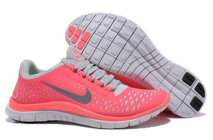 UK Nike Free 3.0 V4 Womens Pink Grey Running Shoes