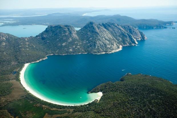 Wineglass Bay in Freycinet National Park on the east coast of Tasmania