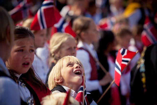 Kids celebrating Norwegian National Day