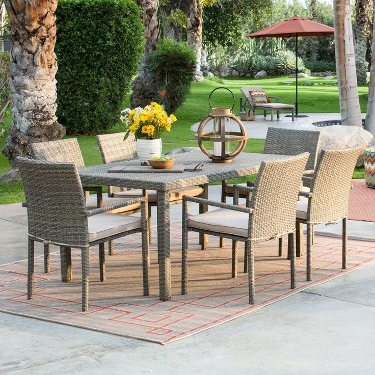 Have to have it. Coral Coast South Isle All Weather Wicker Natural Patio Dining Set - $829.98 @hayneedle