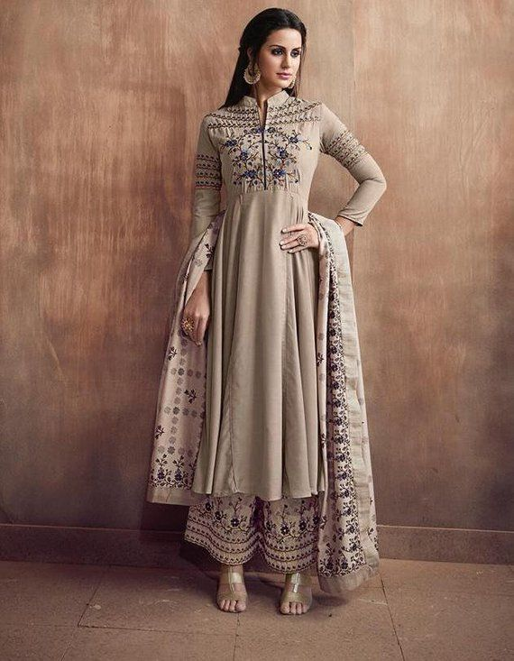 9a7f8fdf02 Umbrella Flared Palazzo Dress - Indian Fashion Wear Palazzo Suit - Designer Embroidered  Suit - Ready