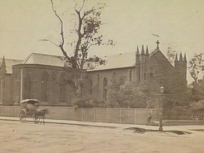 St Francis Church on the Corner of Lonsdale and Elizabeth Streets,Melbourne,Victoria in 1870.