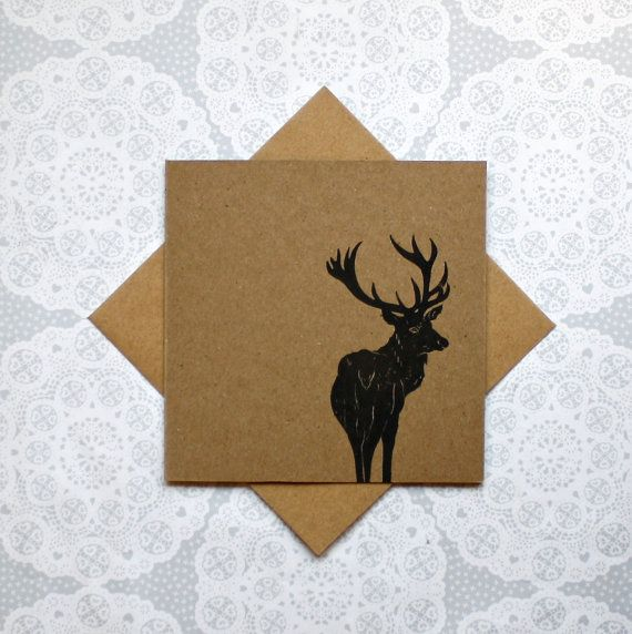 Stag greetings card deer card Birthday thank you