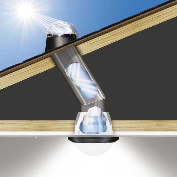 Solatube. Luz natural.El sistema de iluminación natural Solatube captura luz a través de un domo en el techo y la canaliza hacia abajo a través de un sistema reflectante interno patentado. El tubo cabe entre las vigas y se instala fácilmente sin modificaciones estructurales.