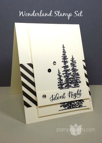 Love the evergreen trees of Wonderland stamp set on this holiday card - designed by Mary Fish, Independent Stampin' Up! Demonstrator.  Details, supply list and more card ideas on http://stampinpretty.com/2015/09/a-simple-saturday-trip-to-wonderland.html - SU - Christmas - CAS