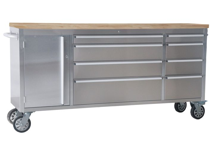"""37.5"""" Wide 8 Drawer Stainless Steel Anti-Fingerprint Tool Chest with Work Station"""
