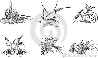 Decorative birds, line art