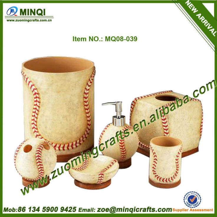Resin baseball cheap bathroom accessories sets:  1.Material:Polyresin  2.Factory outlet&OEM service  3.BV,REACH,SGS  4.MOQ:200