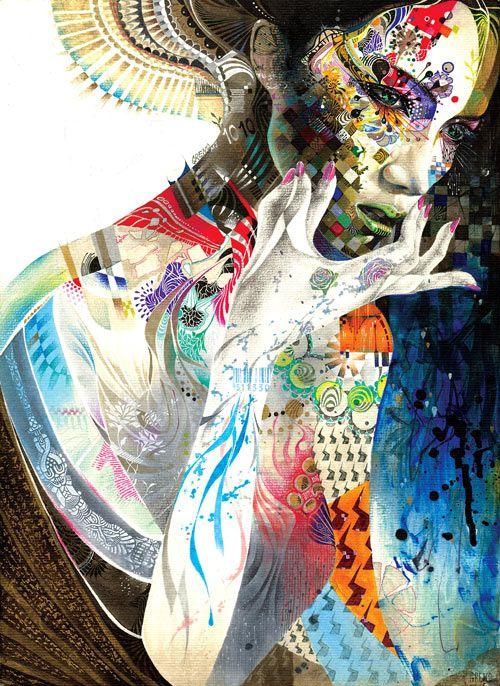 amazing detail: Indian Art, Minja Lee, Ethnic Fashion, Mixedmedia, Color, Illustration, Mixed Media, Painting, South Korea