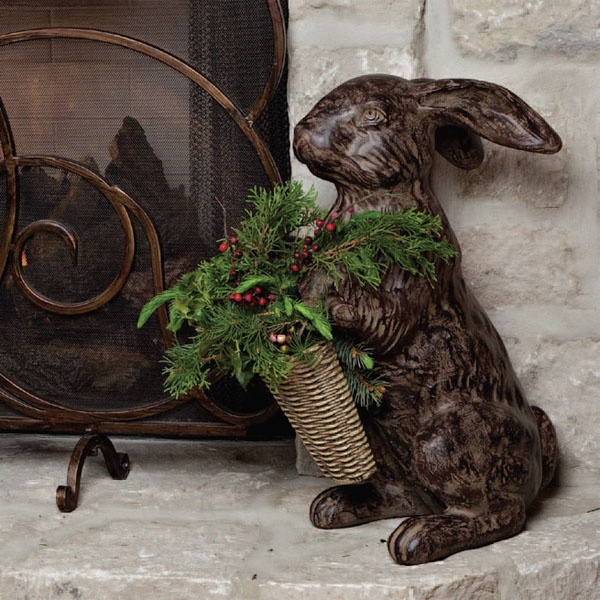 Cast stone rabbit by gracious goods this would be so for Rabbit decorations home
