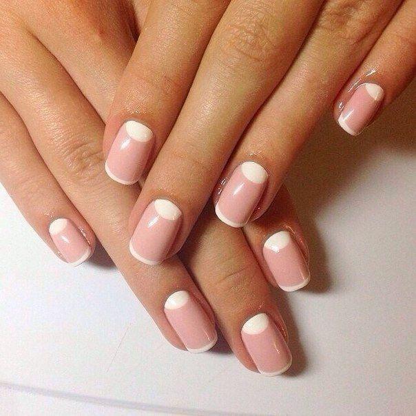Beige moon nails, Casual nails, Fashion nails 2015, Fashion nails 2016, Gentle moon nails, Moon french nails, Moon nails 2015, Moon nails 2016
