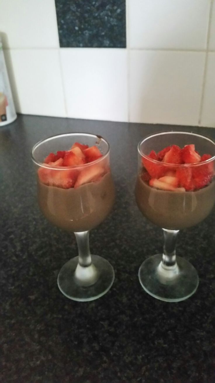 4 ingredients is all it took. - warm water  - Herbalife Chocolate Nutrition mix - Strawberries - Honey (optional)  =  1 delish dessert that won't pile on the pounds